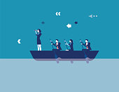 Business leadership and teamwork. Concept business vector illustration. Flat design style.