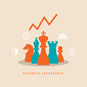 Vector illustration of business leadership concept.