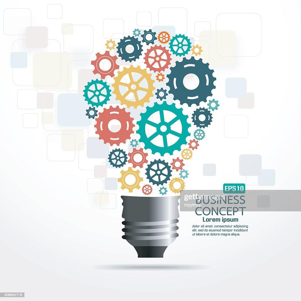Business light bulb gear colorful : Vector Art