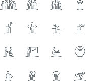 Business people team, presentation, success and leadership related line icon collection. Vector illustration set.