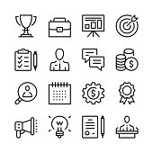 Business line icons set. Modern graphic design concepts, simple outline elements collection. Vector line icons