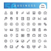 Set of 56 business line icons suitable for gui, web, infographics and apps. Isolated on white background. Clipping paths included.
