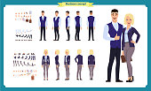 Business Man and woman character constructor with various views, hairstyles, poses and gestures in casual clothes. Front, side, back view. flat vector illustration.isolated on white. business people