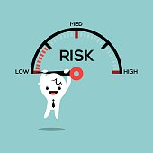 business man hanging on needle speed gauge low risk management conceptual illustration