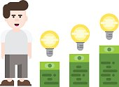 business man idea startup vector