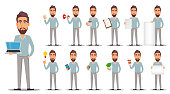 Business man in casual clothes. Businessman cartoon character, set of thirteen poses. Vector illustration on white background