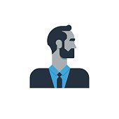 Male character turned head, middle age man, business and finance expert, office clerk. Flat design vector illustration
