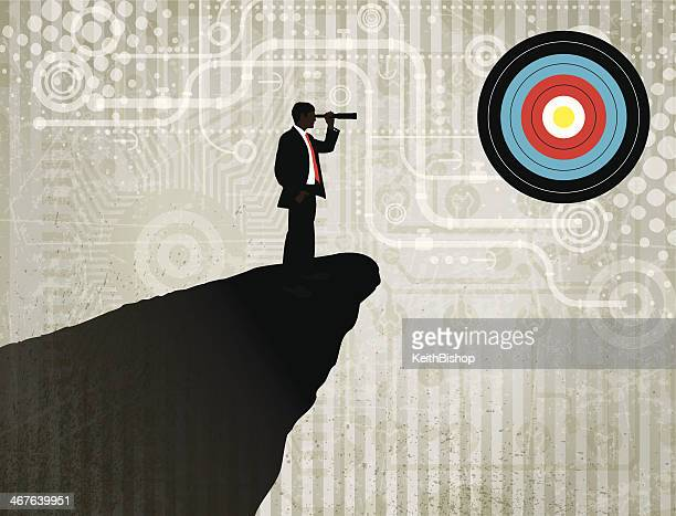 Business Man Looking at Sales Target with Telescope Background