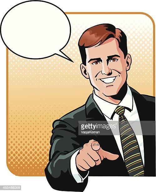 Homme d'affaires pointant du doigt vous