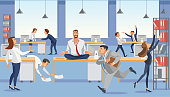 Business man sitting on table and ceep calm in meditation relax. Office workers stressing and hurry up with deadline. Fun cartoon characters. Vector illuctration of job situation in office interior.