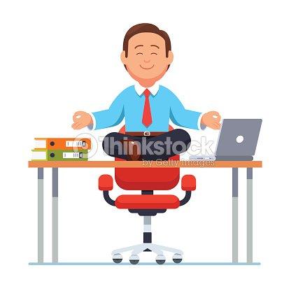 Gesch ftsmann sitzen am schreibtisch in yogapose for Schreibtisch yoga