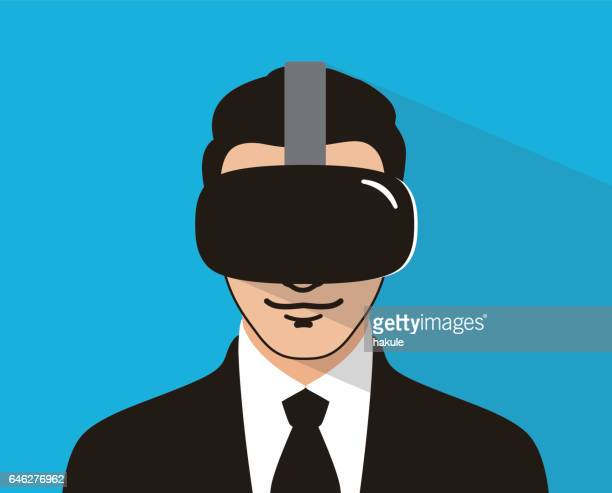 business man wearing VR glasses plying game, vector