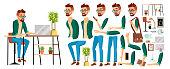 Business Man Worker Character Vector. Hipster Working Male. Office Worker. Animation Set. Clerk, Salesman, Designer. Emotions, Expressions Cartoon Illustration
