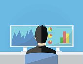 Businessman working in front of two monitors concept flat vector illustration