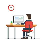 Business person working on computer. Businessman sitting on a red chair behind the office Desk with a cactus, wall clock. Cool vector flat illustration character design isolated on white background