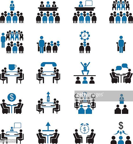 Business management and conference icon set