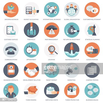 Business, management and finances icon set. Flat vector illustration : Vector Art
