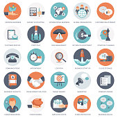 Business, management and finances icon set. Flat vector illustration