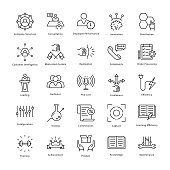 This collection of business management and growth line vector Icons is just what you need for your next business related work. Extremely useful and very fun to use.