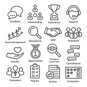Business management icons in line style on white. Pack 03.
