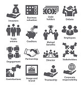 Business management icons Pack 32 on white background