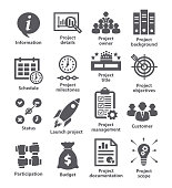 Business management icons Pack 44 on white background