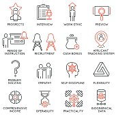 Vector set of 16 icons related to business management, strategy, career progress and business process. Mono line pictograms and infographics design elements - 52