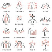 Vector set of 16 icons related to business management, strategy, career progress and business process. Mono line pictograms and infographics design elements - 54