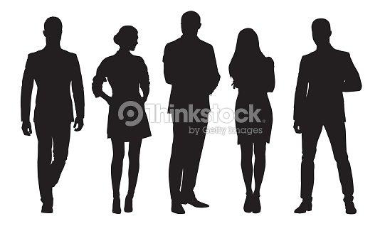 비즈니스 남녀, 직장에서 사람들의 그룹. 격리 된 벡터 실루엣 : 벡터 아트