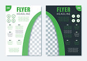 Business Modern Brochure Template. Minimalist Clean Flyer Leaflet Cover Magazine Layout Design in A4 Size with Dinamic Shape. Vector Illustration