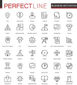 Business motivation thin line web icons set. Discipline organization outline stroke icons design