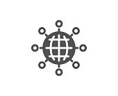 Business networking simple icon. International work symbol. Global communication sign. Quality design elements. Classic style. Vector