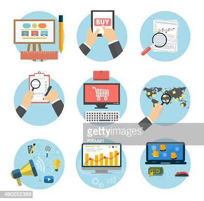 Negocio, oficina y marketing artículos iconos. : Arte vectorial