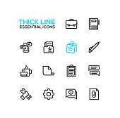 Business, Office - modern vector plain simple thick line design icons and pictograms set. Briefcase, notebook, message, folder, memo, pen, coffee, clipboard, document, speech bubble, work tool cog inf