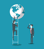 Business partners and world leaders reaching success vector illustration graphic design