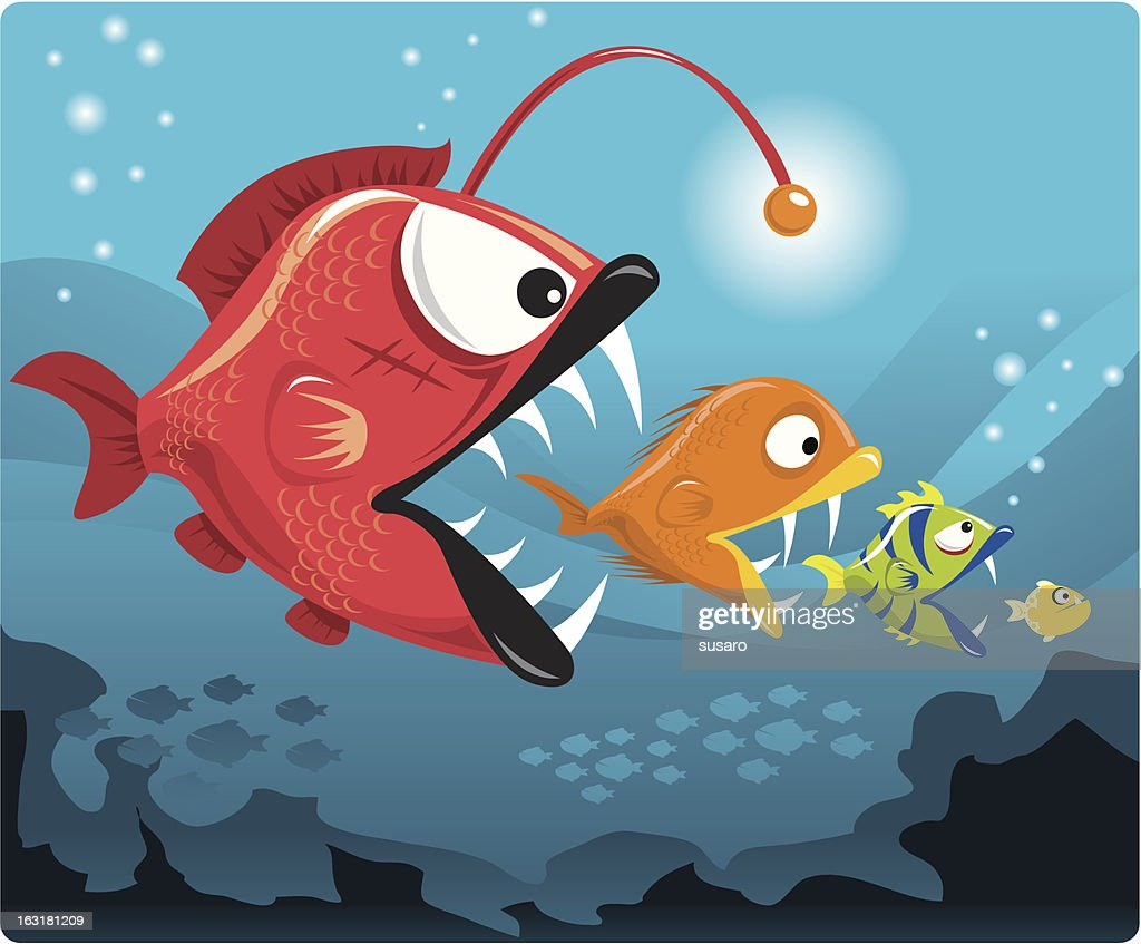 Business Partners in the Deep Sea : Vector Art