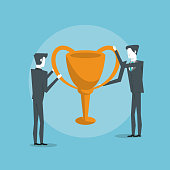 Business partners celebrating success vector illustration graphic design