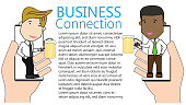 business partners toasting with smart phone app to celebrate a successful contract signing or partnership agreement. Funny vector concept.