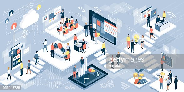 Business people and technology : stock vector