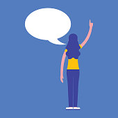 woman with speech bubble communication business vector illustration