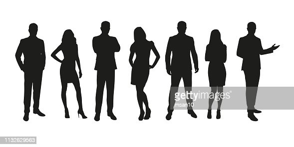 Business people, group of men and women isolated silhouettes : stock vector