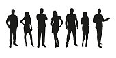 Business people, group of men and women isolated silhouettes