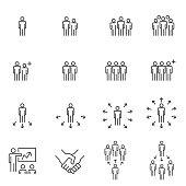 business people icons , meeting communication , work group team line vector