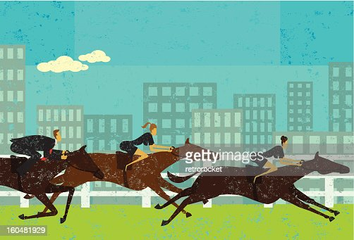 Business people in a horse race : Vector Art