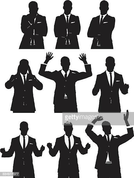 Gente de negocios en las diferentes acciones
