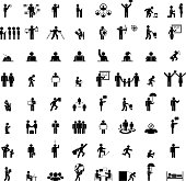 Business people life. Isolated businessman group, work human pictograms on white