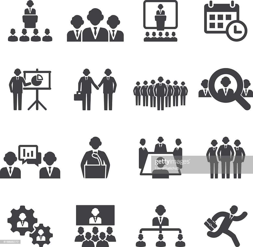 Business people meetings and conferences Silhouette Icons | EPS10 : Vector Art