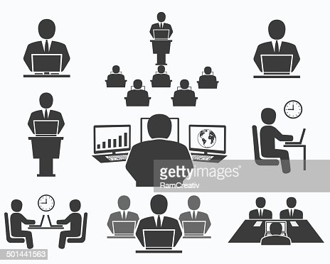 Business People Office Icons Conference Computer Work