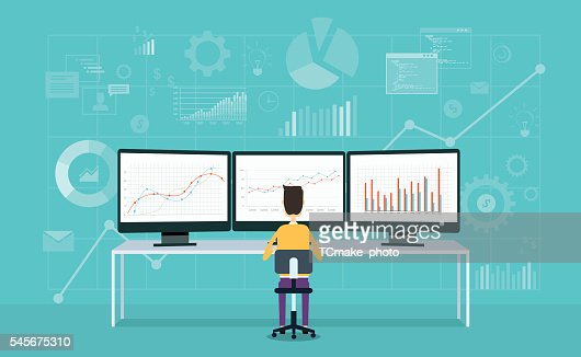 business people on monitor report graph and business analyze : stock vector