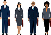Set of business people characters of different age and sexes, standing, full length, EPS 8 vector illustration